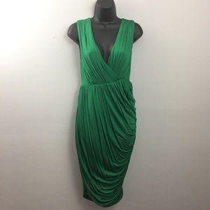 Anthropologie Deletta Emerald Green Draped Dress
